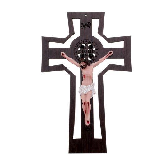 Crucifixo de parede vazado com medalha de São Bento gravada a laser e Cristo em resina - 28cm