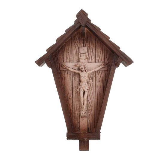 Capela com Crucifixo em resina - 18cm