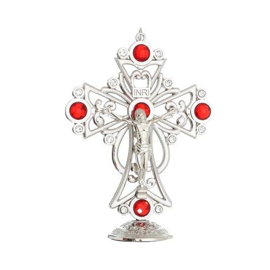Crucifixo de mesa com pedras Vermelhas - Prata 15cm