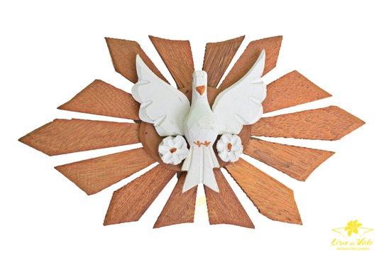 Divino Espírito Santo de madeira com flor - Branco