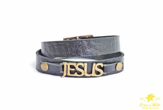 Pulseira de couro Jesus preta - 2 voltas
