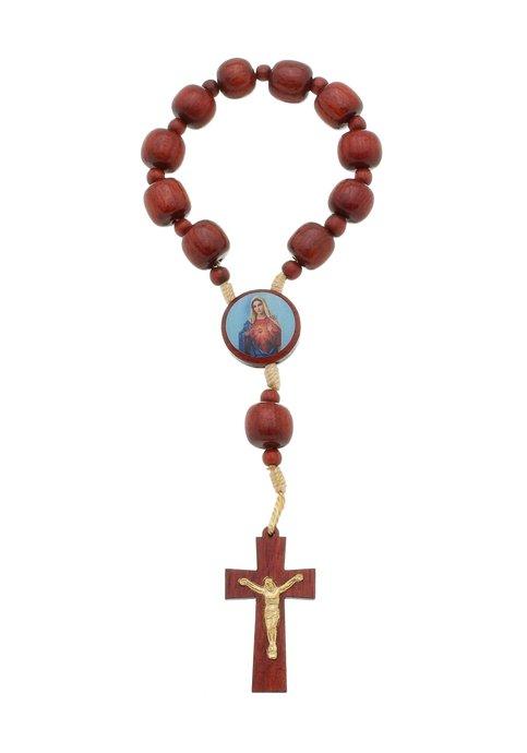 Dezena de mão do Sagrado Coração de Jesus e Maria pau brasil 12mm