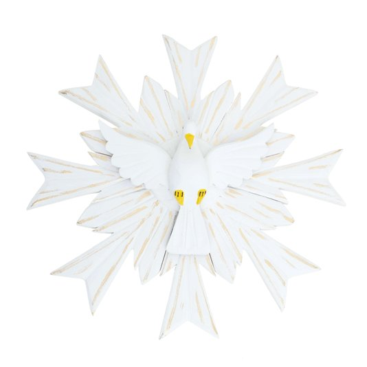 Divino Espírito Santo de madeira na cor branca com detalhes em dourado - 36cm