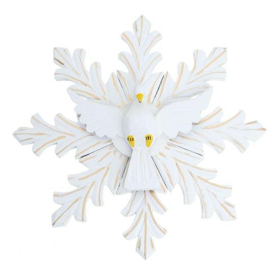 Divino Espírito Santo em madeira trabalhada na cor branca com detalhes dourado - 35cm