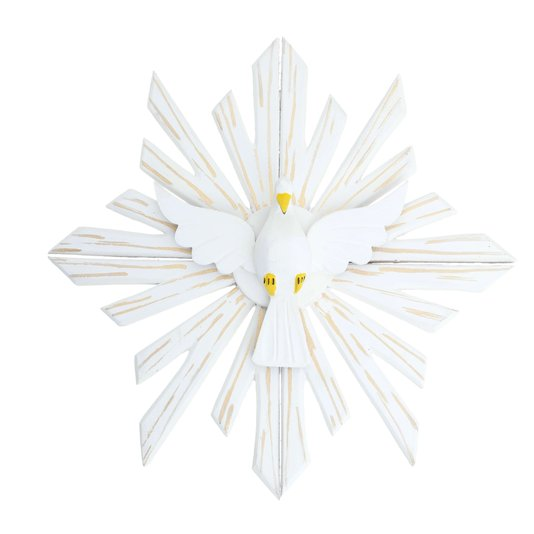 Divino Espírito Santo em madeira na cor branca com detalhes dourado - 26cm