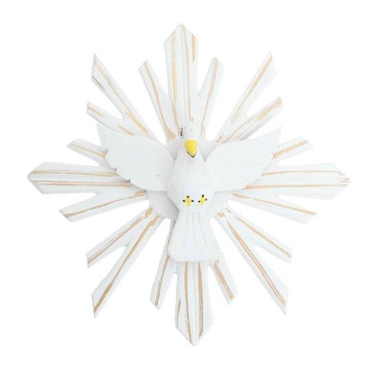 Divino Espírito Santo de madeira na cor branca com detalhes em dourado - 35cm