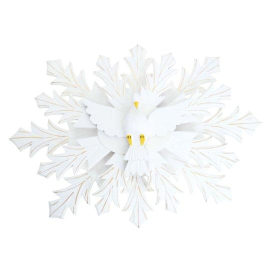 Divino branco floral com detalhes dourado oval  duplo 68x49cm