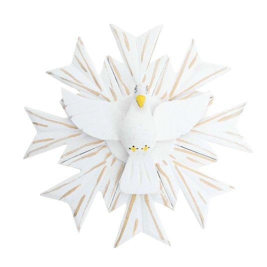 Divino Espírito Santo em madeira na cor branca trabalhado com detalhes dourado - 23cm