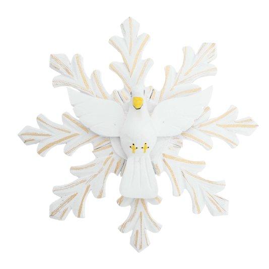 Divino Espírito Santo em madeira branca com detalhes dourado - 25cm