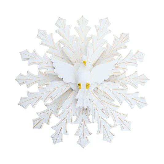Divino Espírito Santo floral com detalhes dourado duplo - 55cm