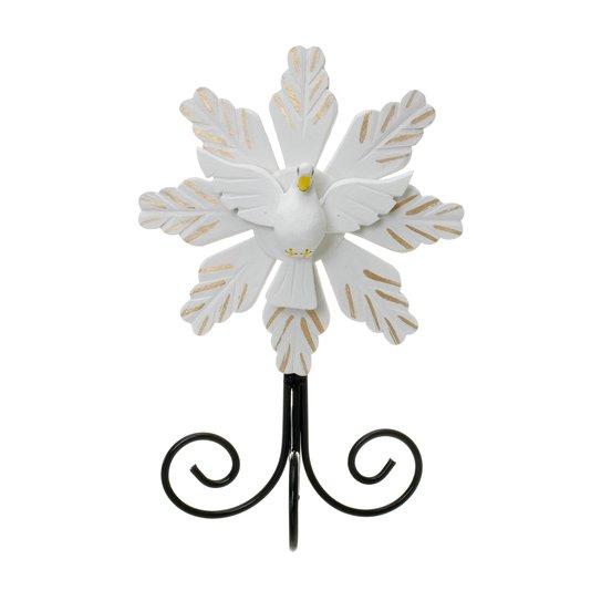 Divino Espírito Santo com pedestal trabalhado na cor branca - 24x36cm