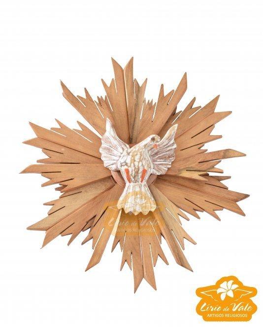 Divino Espírito Santo com pomba branca em madeira de Cedro com pontas repicadas - 32cm