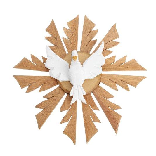 Divino Espírito Santo de madeira com pomba branca - 25CM