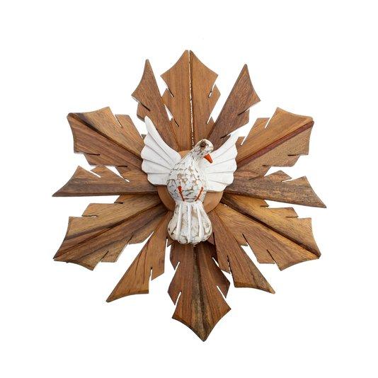 Divino Espírito Santo de Madeira com Pombo Branco de Cedro 31cm
