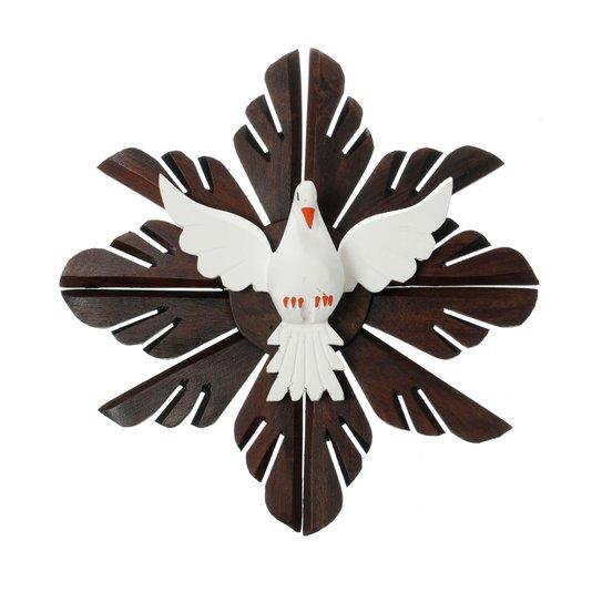 Divino Espírito Santo de madeira redondo - 33x33cm