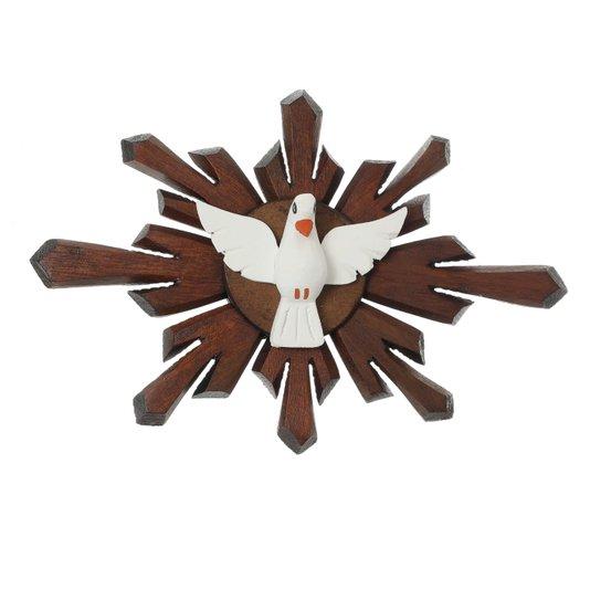 Divino Espírito Santo em madeira raiado - 19x26cm