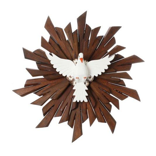 Divino Espírito Santo madeira duplo com flor - 57,5cm