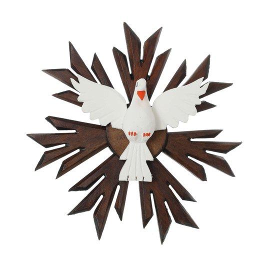 Divino Espírito Santo de madeira raiado - 26x26cm