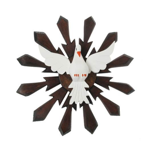 Divino Espírito Santo de madeira raiado - 32x32cm