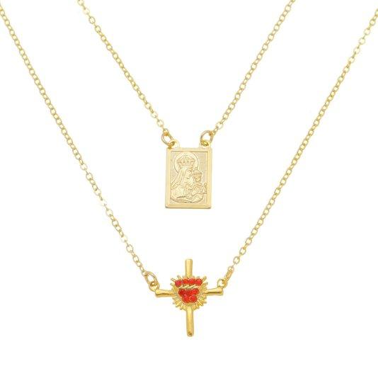 Ecapulário Nossa Senhora do Carmo e crucifixo de Sagrado Coração de Jesus - Folheado