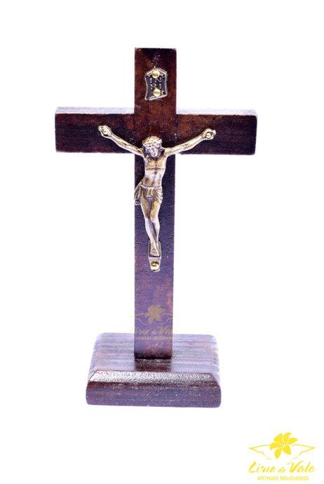 Crucifixo de madeira para mesa - Fosco 13cm