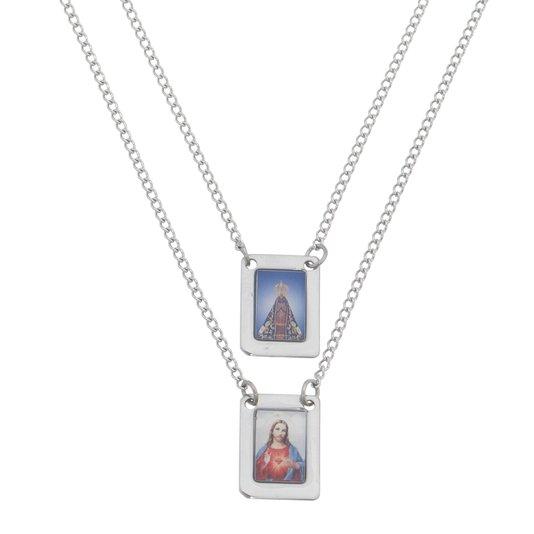 Escapulário Nossa Senhora Aparecida em inox - Colorido