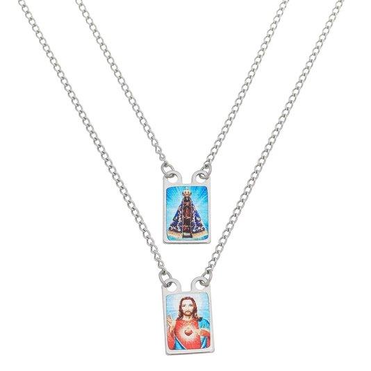 Escapulário de Nossa Senhora Aparecida em inox colorido