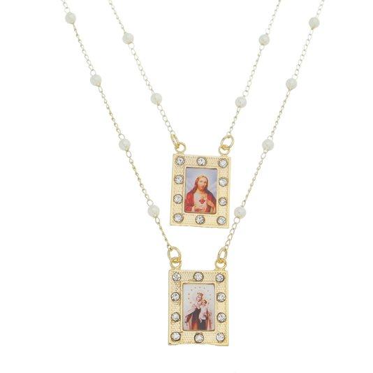 Ecapulário Nossa Senhora do Carmo e Sagrado Coração de Jesus - Folheado
