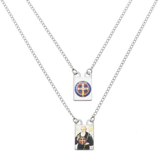 Escapulário medalha de São Bento em inox colorido