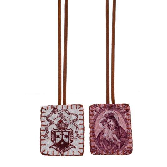 Escapulário Nossa Senhora do Carmo com brasão de tecido - M