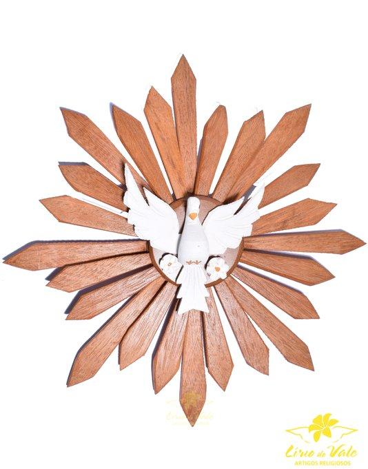 Divino Espírito Santo de madeira - Branco 44cm