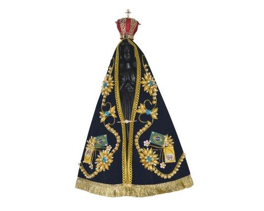 Imagem de Nossa Senhora  Aparecida de gesso com manto - 34,5cm