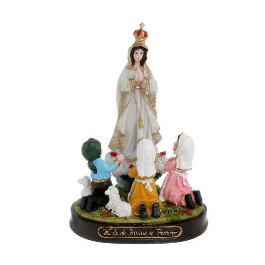 Imagem Nossa Senhora de Fátima com pastores em resina - 17cm