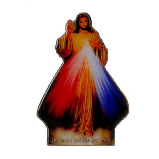Imagem de Jesus Misericordioso com base e MDF 15x10cm