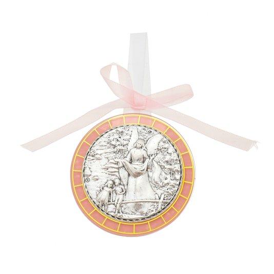 Medalhão de berço com medalha de metal - rosa