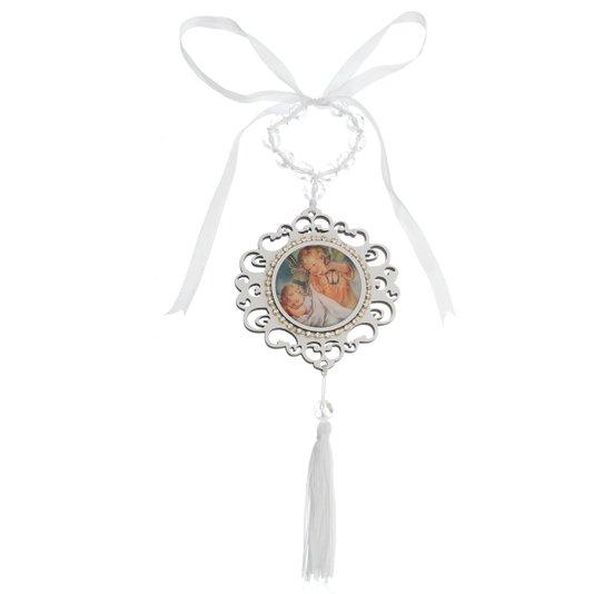 Medalhão com strass infantil - Branco