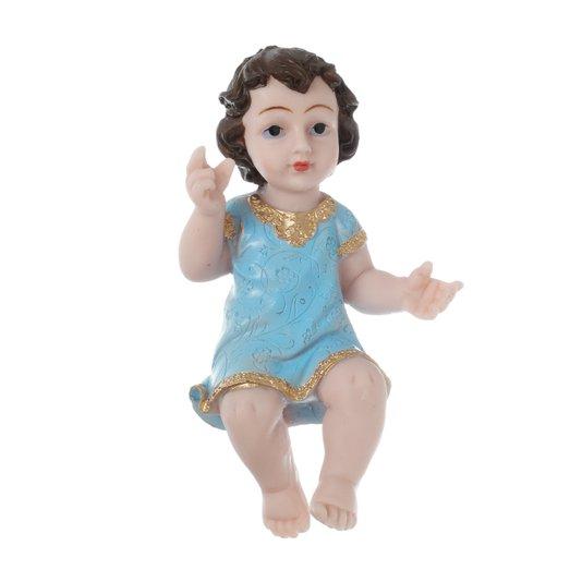 Menino Jesus com manto azul em resina - 19cm