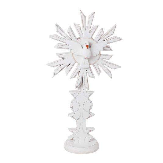 Pedestal Divino Espírito Santo com base trabalhada - branco