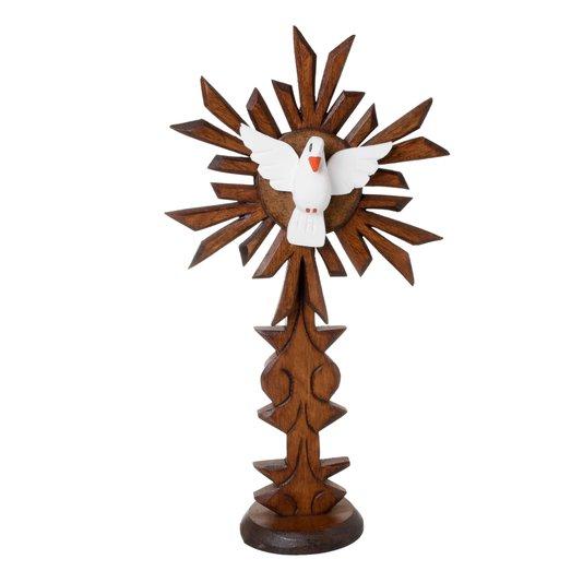 Pedestal Divino Espírito Santo com base trabalhada em madeira