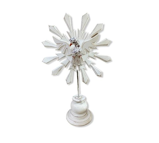 Pedestal Divino Espírito Santo em madeira - branco M