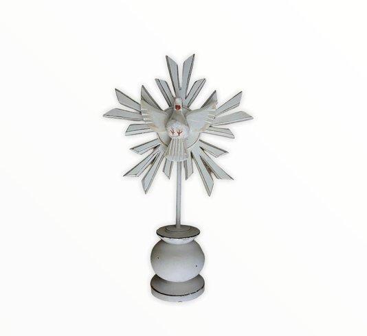 Pedestal Divino Espírito Santo em madeira - branco PP