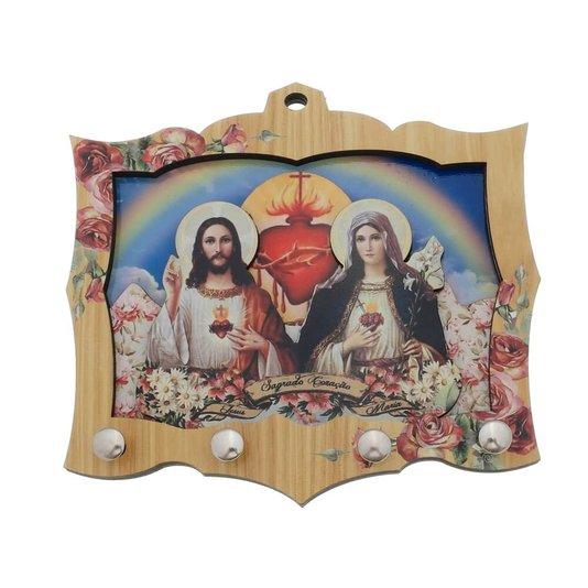 Porta chave Sagrado Coração de Jesus e Maria 3D