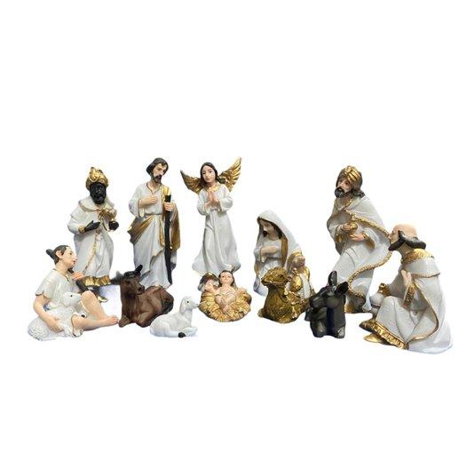 Presépio em resina branco e dourado 12 peças - 15cm