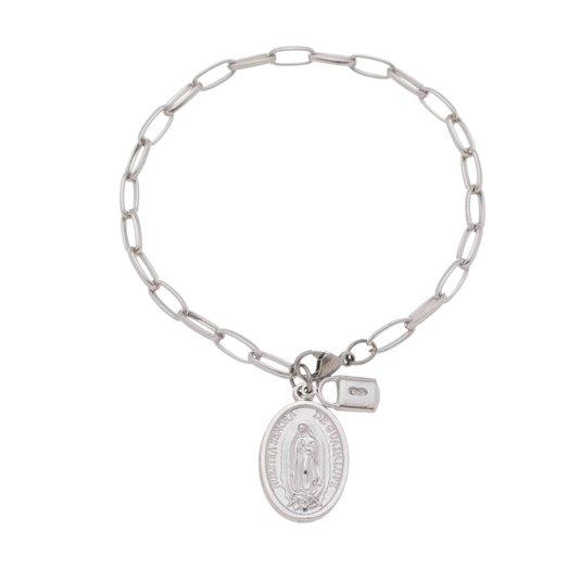 Pulseira Cadeia da consagração com medalha de Nossa Senhora de Guadalupe inox