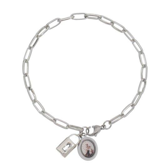 Pulseira Cadeia de consagração com medalha de Nossa Senhora do Carmo