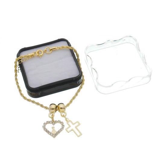 Pulseira Nossa Senhora Aparecida com pingente coração e cruz