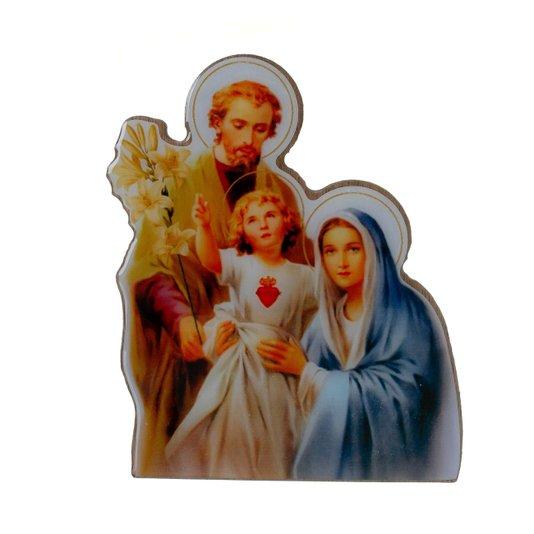 Imagem Sagrada Família com base em MDF 15x12cm