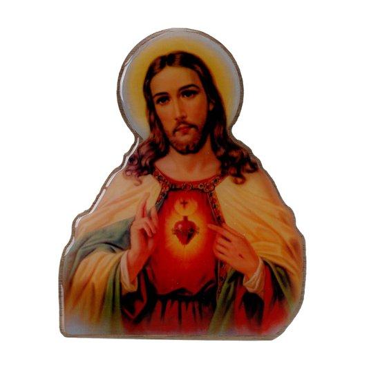Imagem Sagrado Coração de Jesus com base em MDF 15x12cm