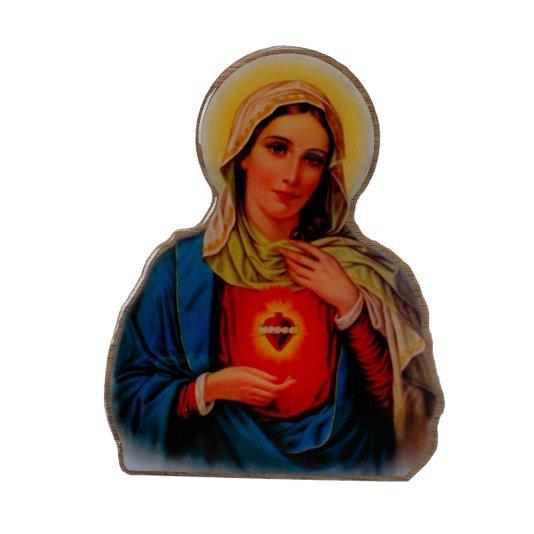 Imagem Sagrado Coração de Maria com base em MDF 15x12cm