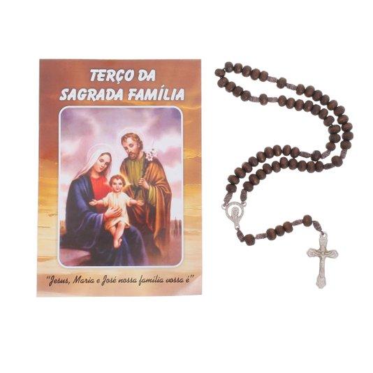 Terço com folheto da Sagrada Família - 06 UN